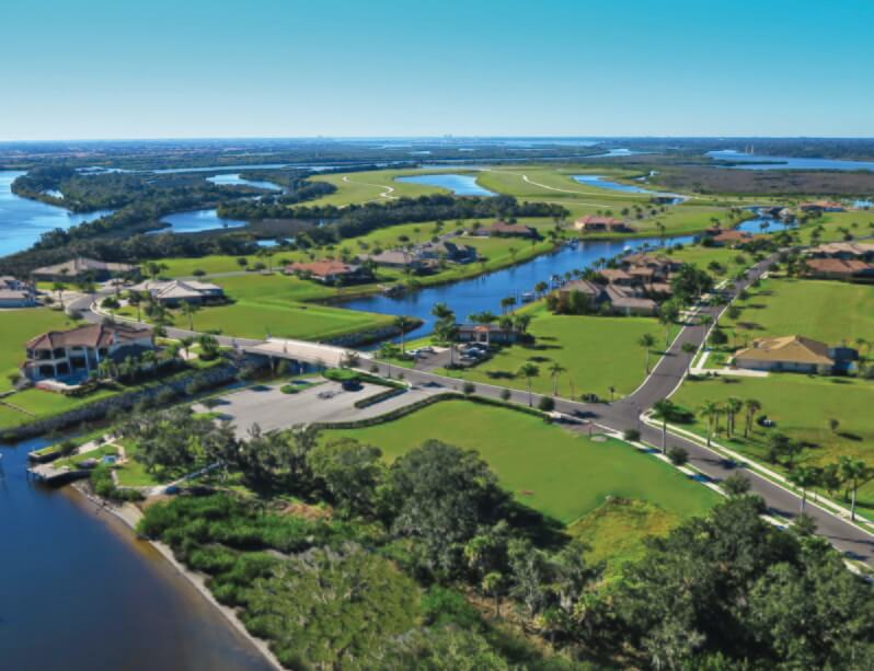 Manatee River custom home community aerial view