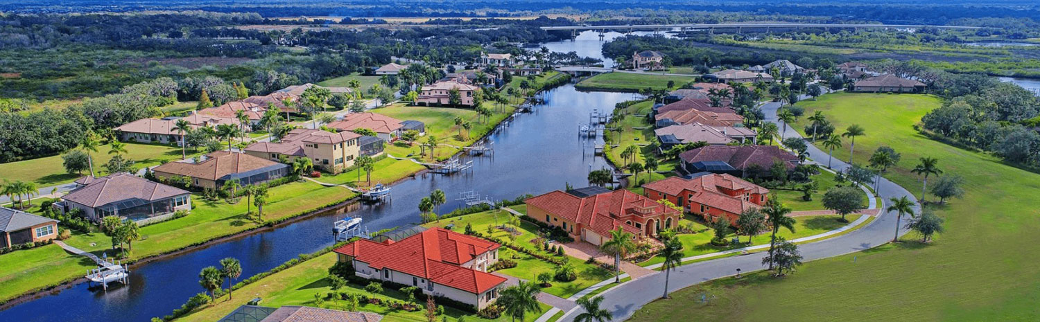 waterfront community custom homes aerial view